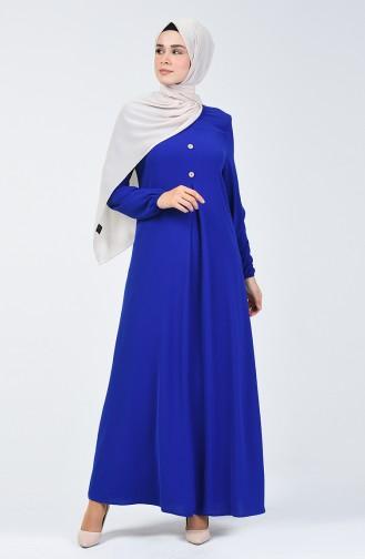 فستان بأكمام مطاط قماش آيروبين أزرق 0050-09