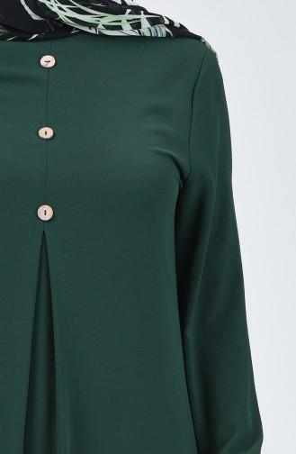 Aerobin Kumaş Kolu Lastikli Elbise 0050-10 Zümrüt Yeşil