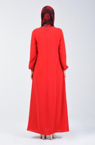 Aerobin Kumaş Kolu Lastikli Elbise 0061-11 Kırmızı