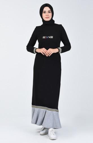 Volanlı Spor Elbise 99250-01 Siyah