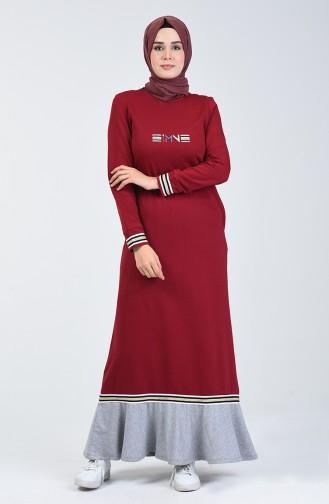 Volanlı Spor Elbise 99250-02 Bordo