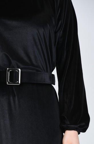 Büyük Beden Kemerli Kadife Elbise 5557A-01 Siyah