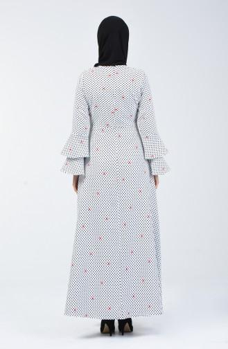 İspanyol Kol Elbise 4045C-01 Beyaz Siyah