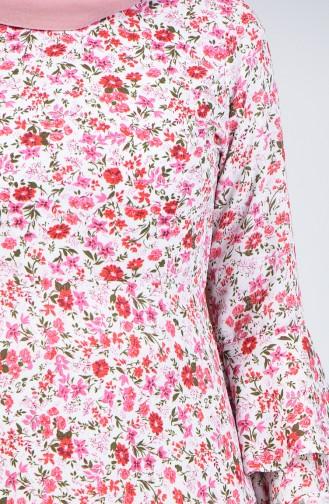 İspanyol Kol Elbise 4045D-01 Ekru Bordo