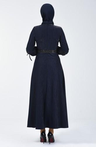 Kol Detaylı Kemerli Elbise 5118-02 Lacivert