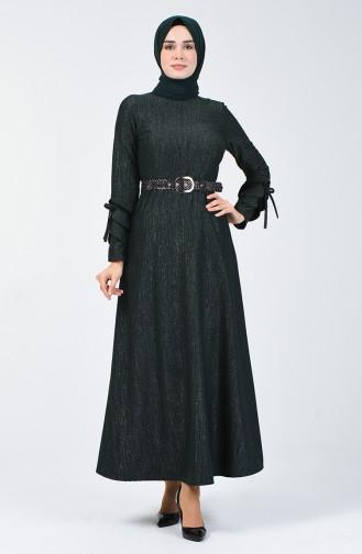 Kol Detaylı Kemerli Elbise 5118-03 Haki