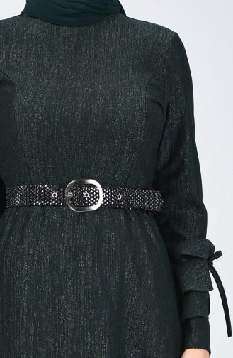 Kol Detaylı Kemerli Elbise 5118-03 Haki 5118-03