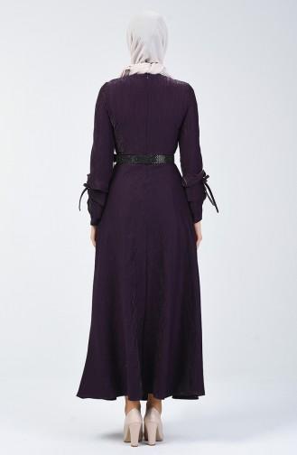 Sleeve Detailed Belt Dress 5118-05 Purple 5118-05