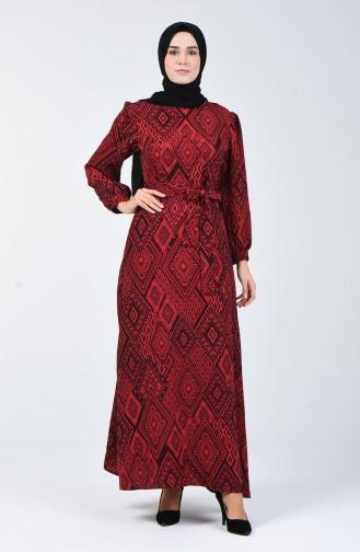 Etnik Desenli Elbise 60089-01 Kırmızı