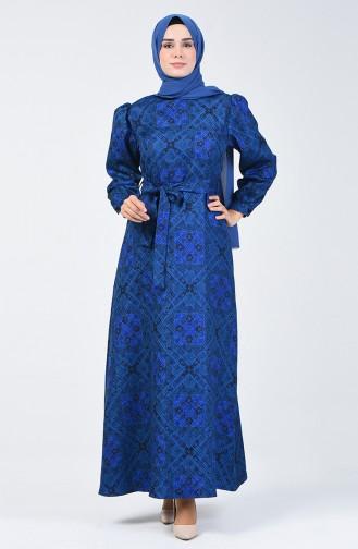 Etnik Desenli Elbise 60089A-01 Saks