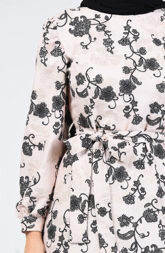 Kuşaklı Simli Elbise 60093-02 Bej 60093-02