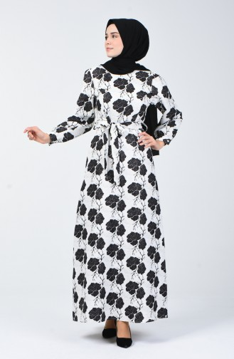 Kuşaklı Simli Elbise 60093A-01 Ekru 60093A-01