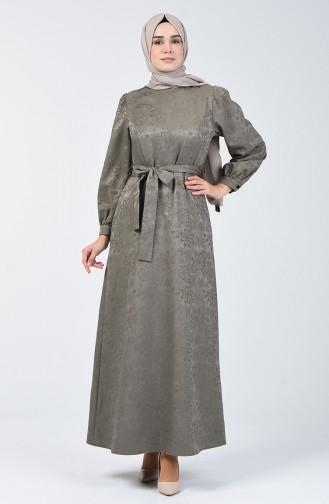 Kabartma Desen Kuşaklı Elbise 60094-01 Haki
