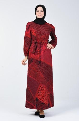 Kabartma Desenli Kuşaklı Elbise 60096-01 Kırmızı 60096-01