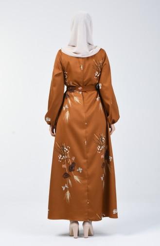Kolu Lastikli Kuşaklı Elbise 60097-01 Hardal