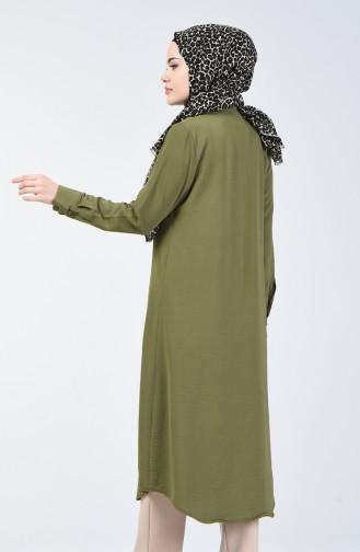 تونيك مع قلادة قماش آيروبين كاكي أخضر فاتح 5308-04