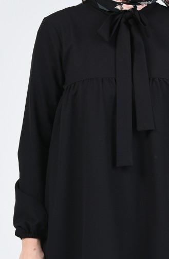 Kravat Yaka Büzgülü Tunik 0265-01 Siyah