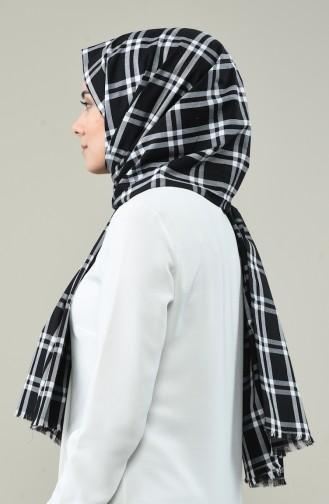 Ekose Desenli Pamuk Şal 99260-01 Siyah