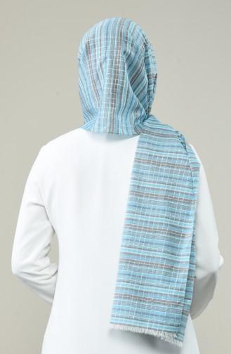 Desenli Simli Vual Pamuk Şal 99262-01 Mavi