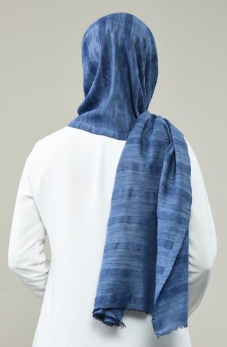 Taşlanmış Pamuk Şal 3010TS-09 Kot Mavi
