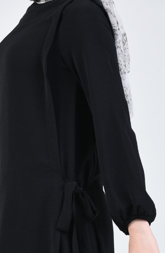 Aerobin Kumaş Bağcıklı Tunik Pantolon İkili Takım 0257-01 Siyah