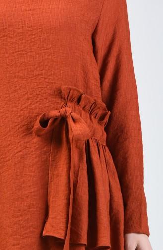 Aerobin Kumaş Büzgülü Tunik Pantolon İkili Takım 0258-02 Kiremit
