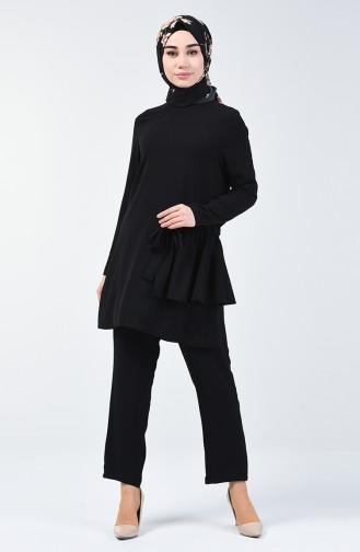 Aerobin Fabric Shirred Tunic Trousers Double Suit 0258a-01 Black 0258A-01