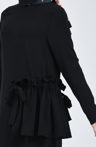 Aerobin Kumaş Büzgülü Tunik Pantolon İkili Takım 0258A-01 Siyah 0258A-01