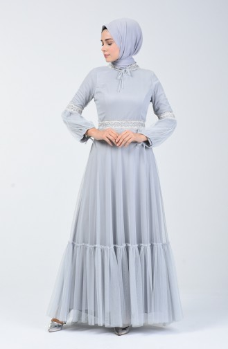 Lace Tulle Evening Dress 5002-01 Gray 5002-01