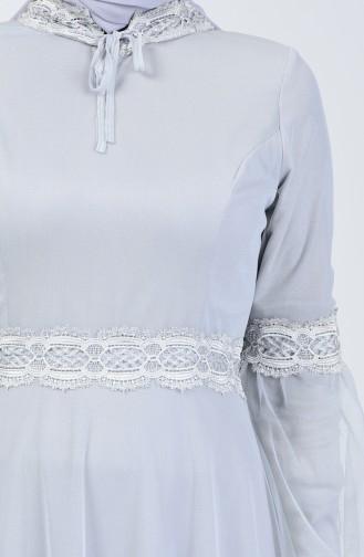 Grau Hijab-Abendkleider 5002-01