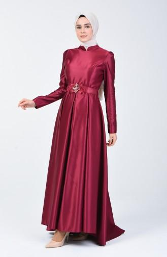فساتين سهرة بتصميم اسلامي ارجواني داكن 5093-01