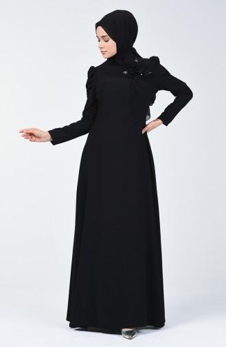Broşlu Abiye Elbise 7002-02 Siyah