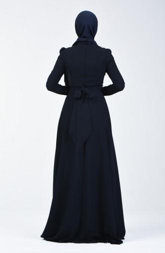 Robe de Soirée Pierreux 7060-01 Bleu Marine 7060-01