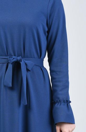 Büzgülü Kuşaklı Elbise 0031-01 İndigo