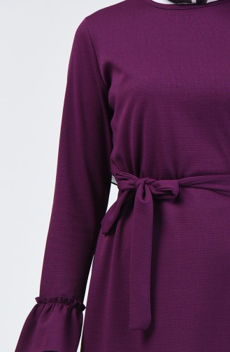 Büzgülü Kuşaklı Elbise 0031-06 Mor