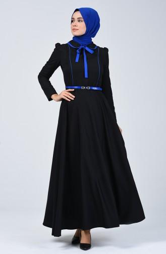 Bebe Yaka Biyeli Elbise 7260-01 Siyah Saks