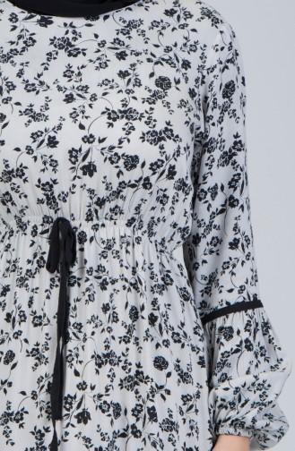 Çiçek Desenli Elbise 8175A-01 Ekru 8175A-01