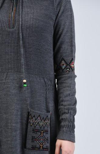 Triko Nakışlı Elbise 2179-03 Füme
