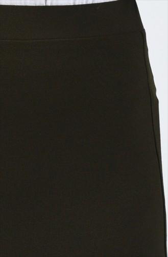 Jupe Crayon Taille Élastique 0522-02 Khaki 0522-02