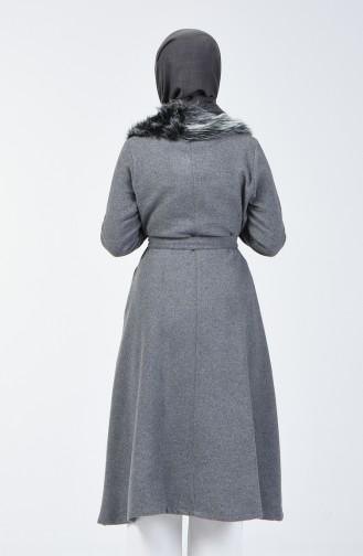 معطف مزين بالفرو دخاني 5091-02