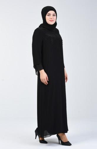 Schwarz Hijab-Abendkleider 1010-01