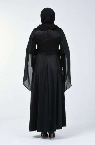 Büyük Beden Simli Abiye Elbise 1012-02 Siyah