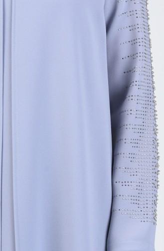 Büyük Beden Taş Baskılı Abiye Elbise 1014-01 Gri