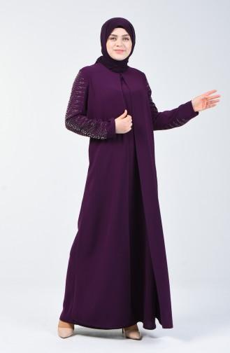 Büyük Beden Taş Baskılı Abiye Elbise 1014-02 Mor 1014-02