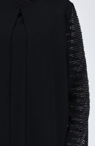 Büyük Beden Taş Baskılı Abiye Elbise 1014-03 Siyah