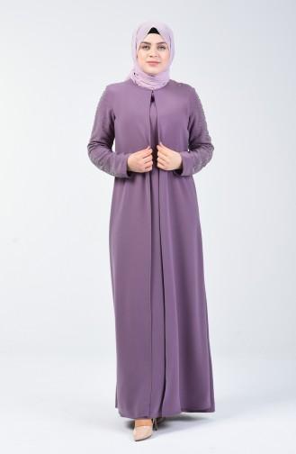 Dark Lilac İslamitische Avondjurk 1014-04