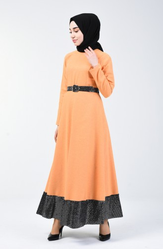 Patchwork Kleid mit Gürtel 5119A-01 Senf 5119A-01