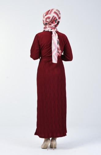 Kuşaklı Piliseli Elbise 4400-01 Bordo