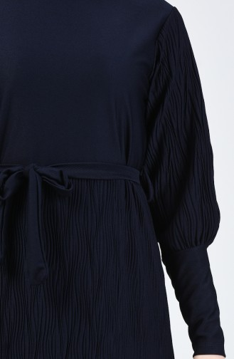 Kuşaklı Piliseli Elbise 4400-03 Lacivert