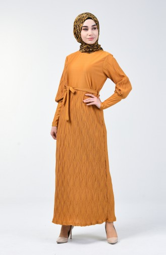 Kuşaklı Piliseli Elbise 4400-04 Hardal